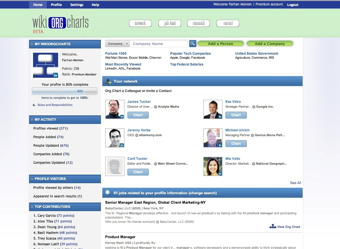 WikiOrgCharts Screenshot Profile View
