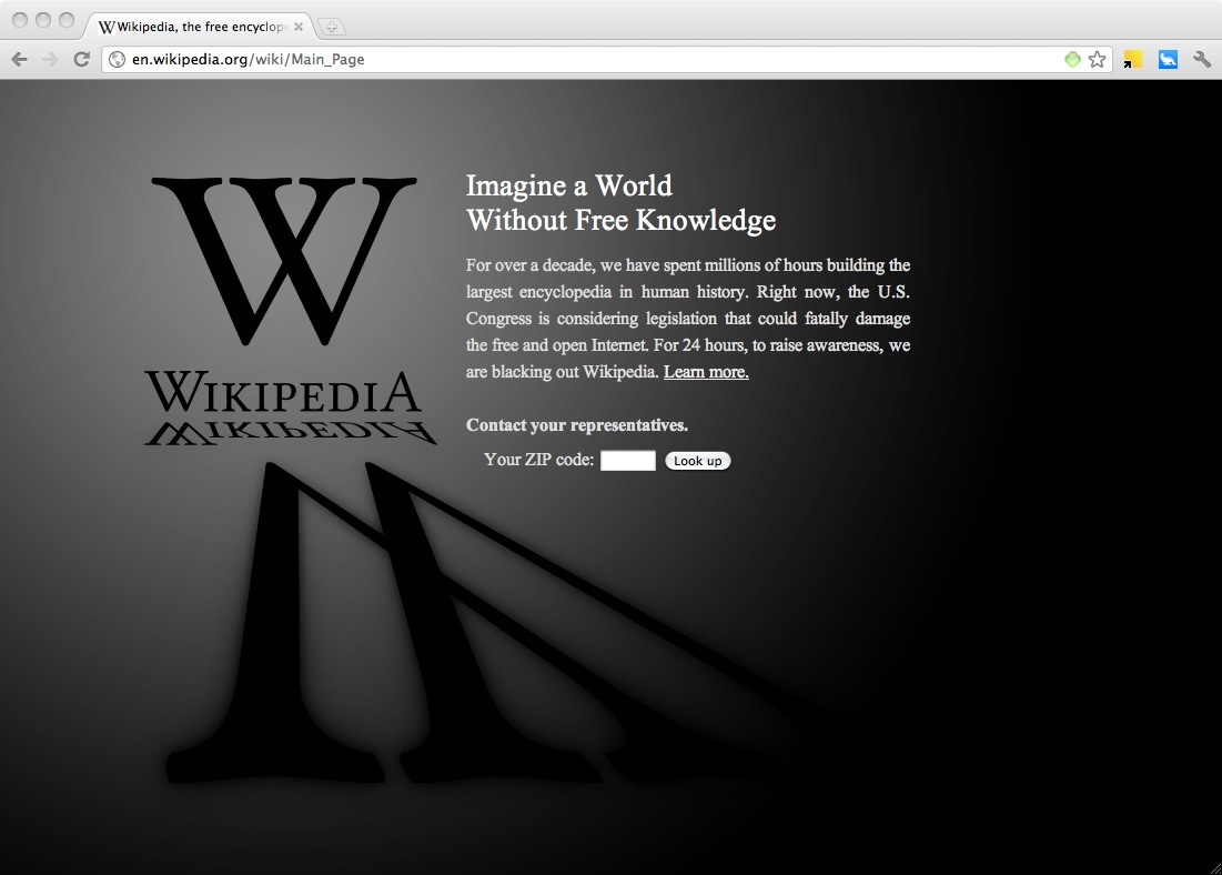 Wikipedia asked all of its U.S. users to call their Congressional representatives.