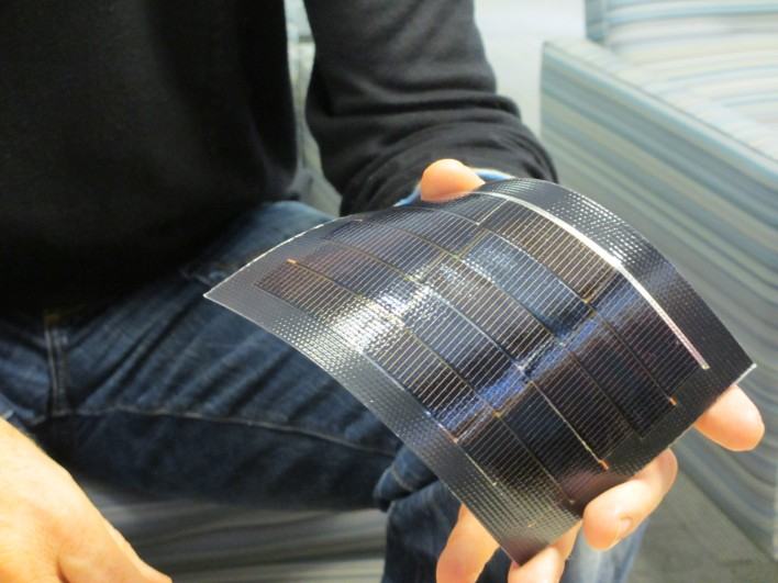 A close-up of the solar cells, which can be embedded in building materials such as roofing membranes.