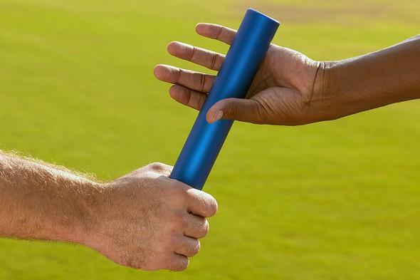 Baton handover hand off