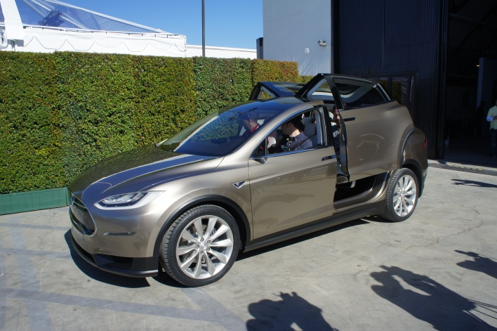The Model X with falcon wings opening