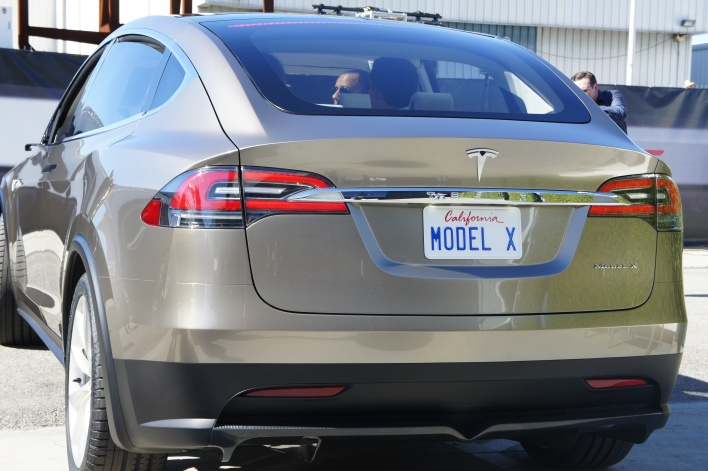 Rear of the Model X with trunk closed