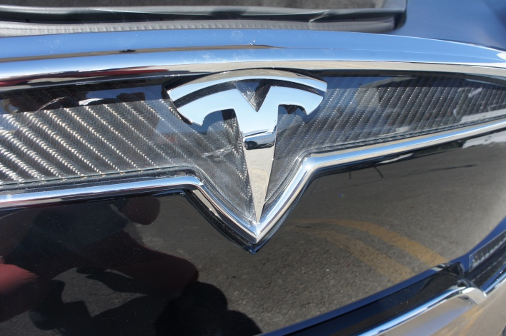 Tesla logo on the Model X, courtesy of Katie Fehrenbacher, Gigaom
