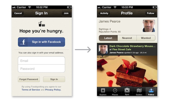 Foodspotting Facebook mobile app