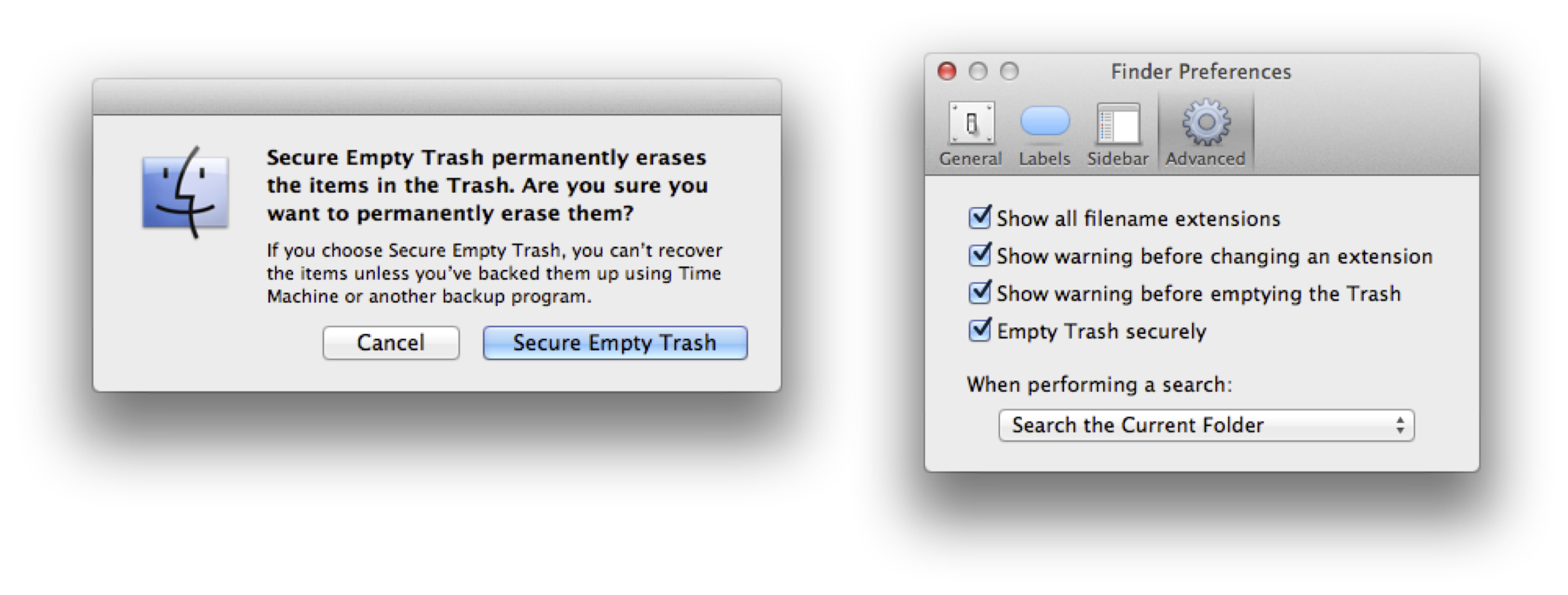 Finder's Secure Empty Trash