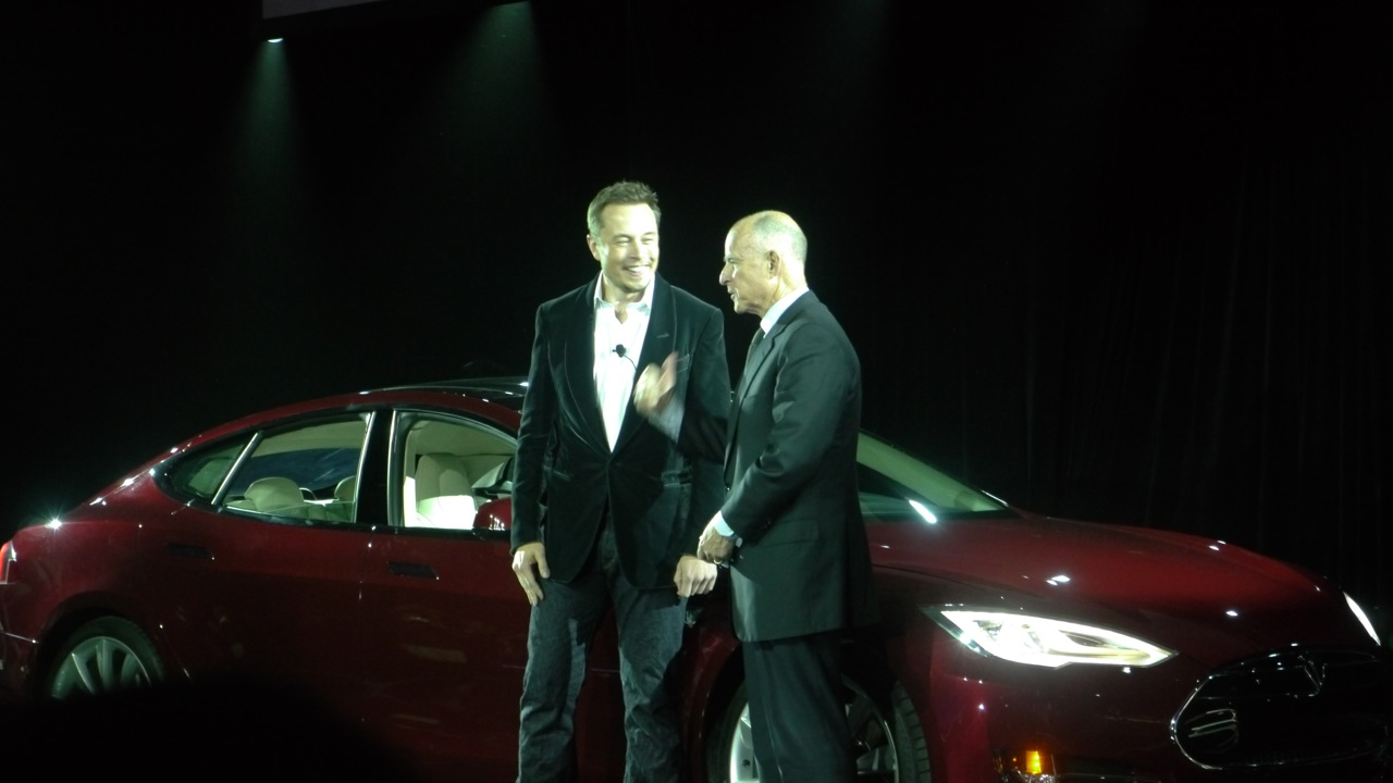 Tesla CEO Elon Musk and Jerry Brown at the Model X event