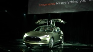 Model X with falcon wings open