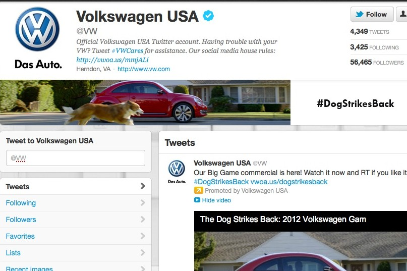 Screenshot of Volkswagen's enhanced Twitter page (click to enlarge)