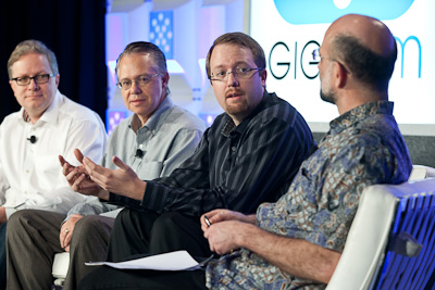Seth Grimes of Alta Plana, Ron Avnur of MarkLogic, Paul Speciale of Amplidata, and Staffan Truve of Recorded Future at Structure:Data 2012