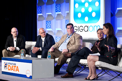 Lane Patterson of Equinix, Edward Newmann of EMC, Jim Smith of Digital Realty, Andreas Zoll of IO, and Stacey Higginbotham of GigaOM at Structure:Data 2012