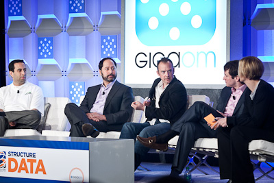 Ari Zilka of Hortonworks, James Makarian of Informatica, Mark Cusack at RainStor, Justin Borgman at Hadapt, and Jo Maitland of GigaOM at Structure:Data 2012