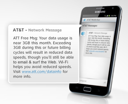 AT&T 3GB Data Throttling Plan Text Message