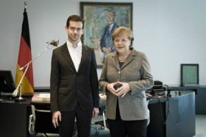 Jack Dorsey and Angela Merkel (courtesy of Merkel's spokesman Steffen Seibert)