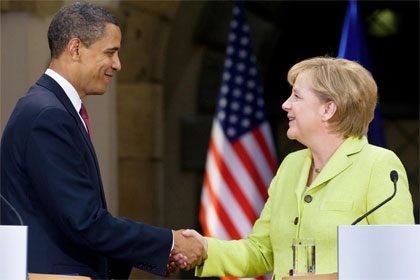 Barak Obama and Angela Merkel