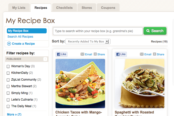 Recipe Box ZipList
