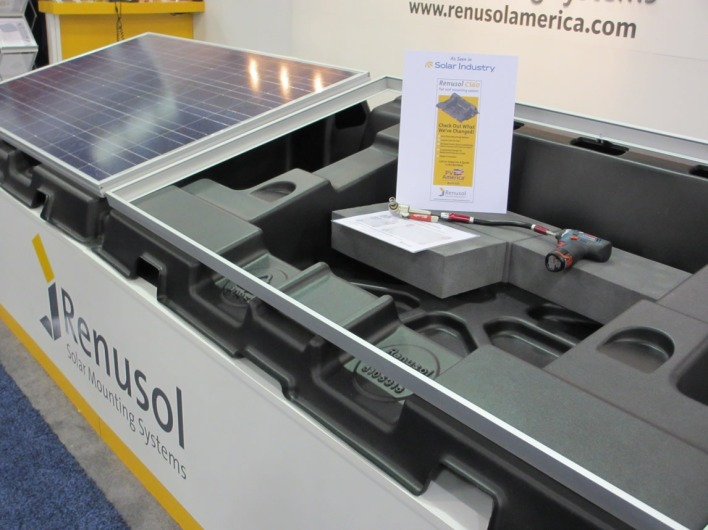 Most mounting systems are made with aluminum, but Renusol offers a plastic version for flat roof installations.