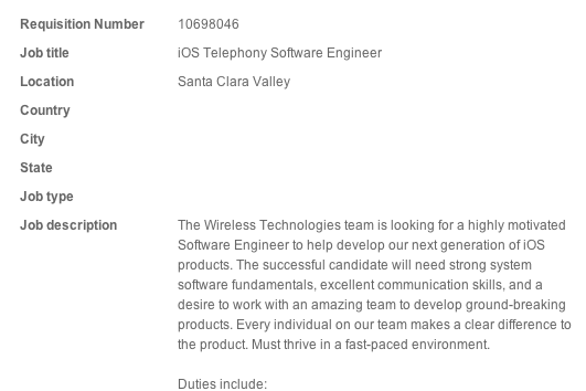Apple VoIP job posting