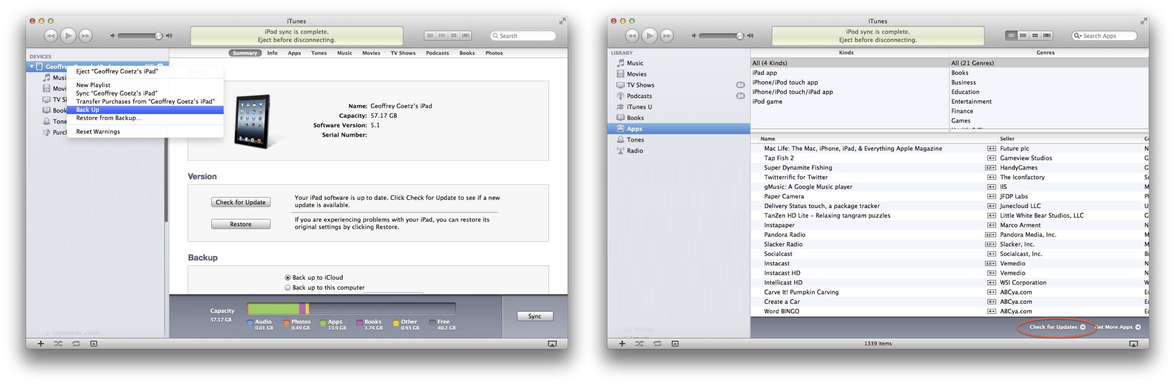 Setup via iTunes