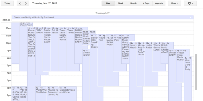 (Actual Google Calendar of an actual SXSW attendee last year)