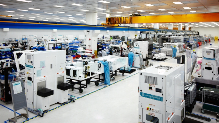 The clean room at Applied Materials where chip-making machines are made.