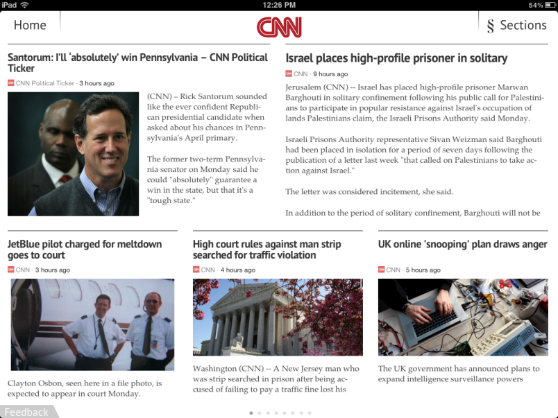 Zite CNN Section Frontpage
