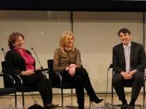 Staci Kramer, Arianna Huffington, Tim Armstrong at paidContent 2011