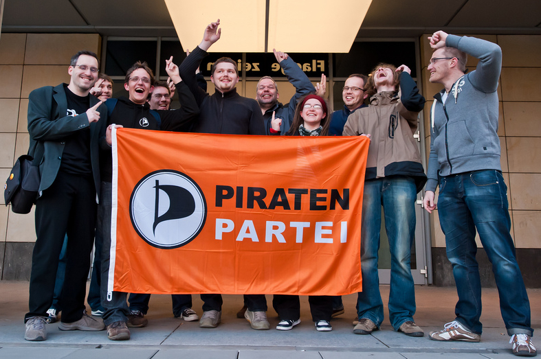 Pirate Party Deutschland supporters, uploaded by notizn to Flickr under a CC license