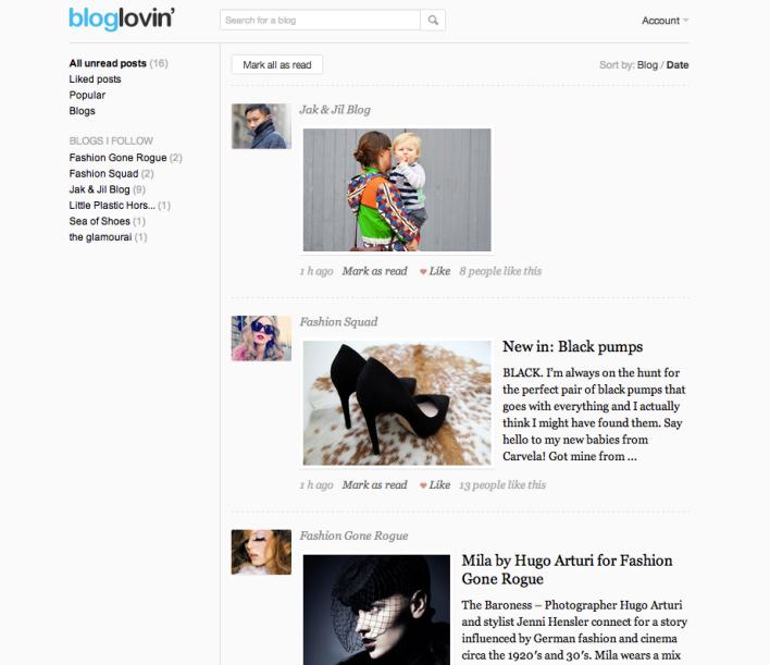 Bloglovin screenshot