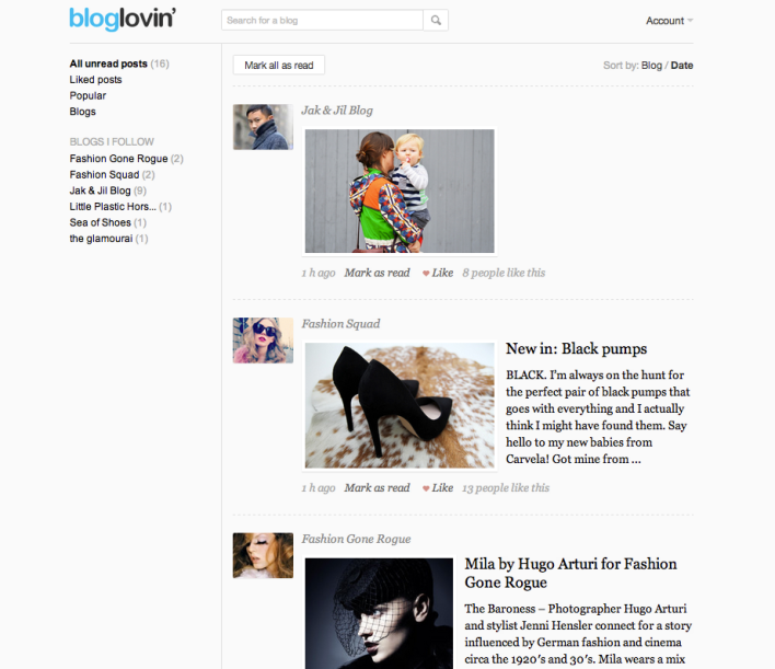 Bloglovin screenshot