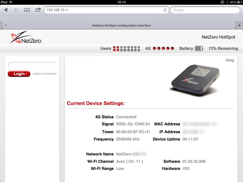 device interface 4G hotspot