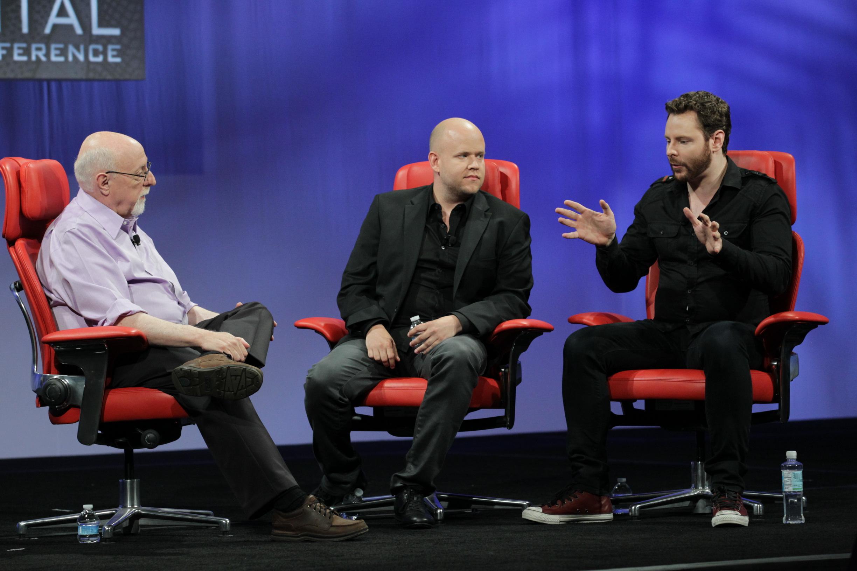 (L to R) Walt Mossberg, Daniel Ek, Sean Parker