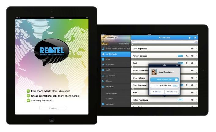 Rebtel's tablet apps (source: Rebtel)