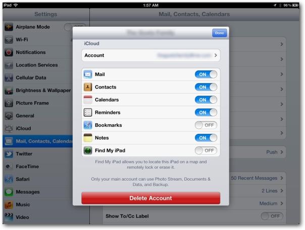 iCloud Secondary Settings