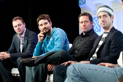 (L to R) Josh McKenty, CEO, Piston Cloud and Co-Founder, OpenStack;		  Solomon Hykes, Co-Founder and CEO, dotCloud; Derek Collison, Founder and CEO, Apcera; Lucas Carlson, Founder and CEO, AppFog (c)2012 Pinar Ozger pinar@pinarozger.com