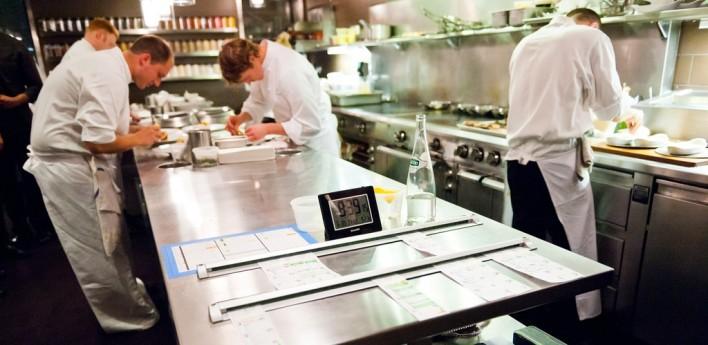 Kitchen cooks restaurant line