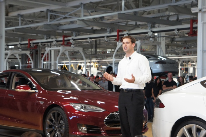 Tesla CTO JB Straubel speaks at the launch of the Model S