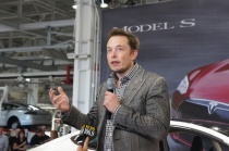 Photo of Elon Musk taken at Model S launch, courtesy of Katie Fehrenbacher, Gigaom