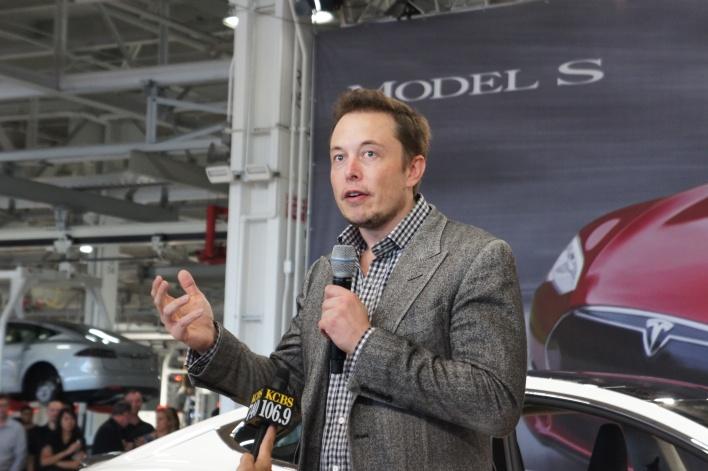 Photo of Elon Musk taken at Model S launch, courtesy of Katie Fehrenbacher, Gigaom