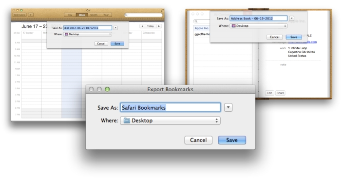 Export Contacts Calendars and Bookmarks