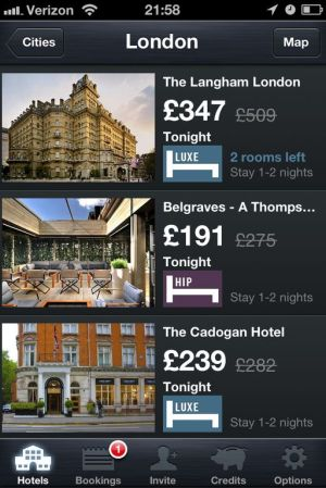 HotelTonight London iPhone