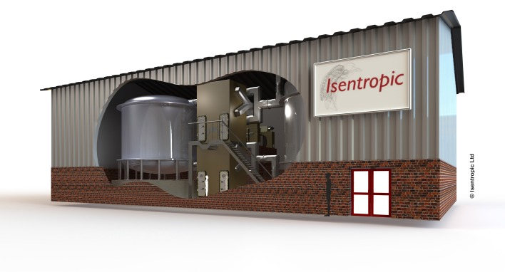 Proposed Isentropic Pumped Heat Electricity Storage (PHES) Unit - side elevation