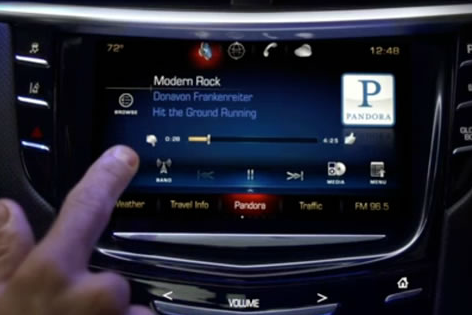 Pandora in one of its more sophisticated implementations in the Cadillac Cue infotainment system (source: GM)