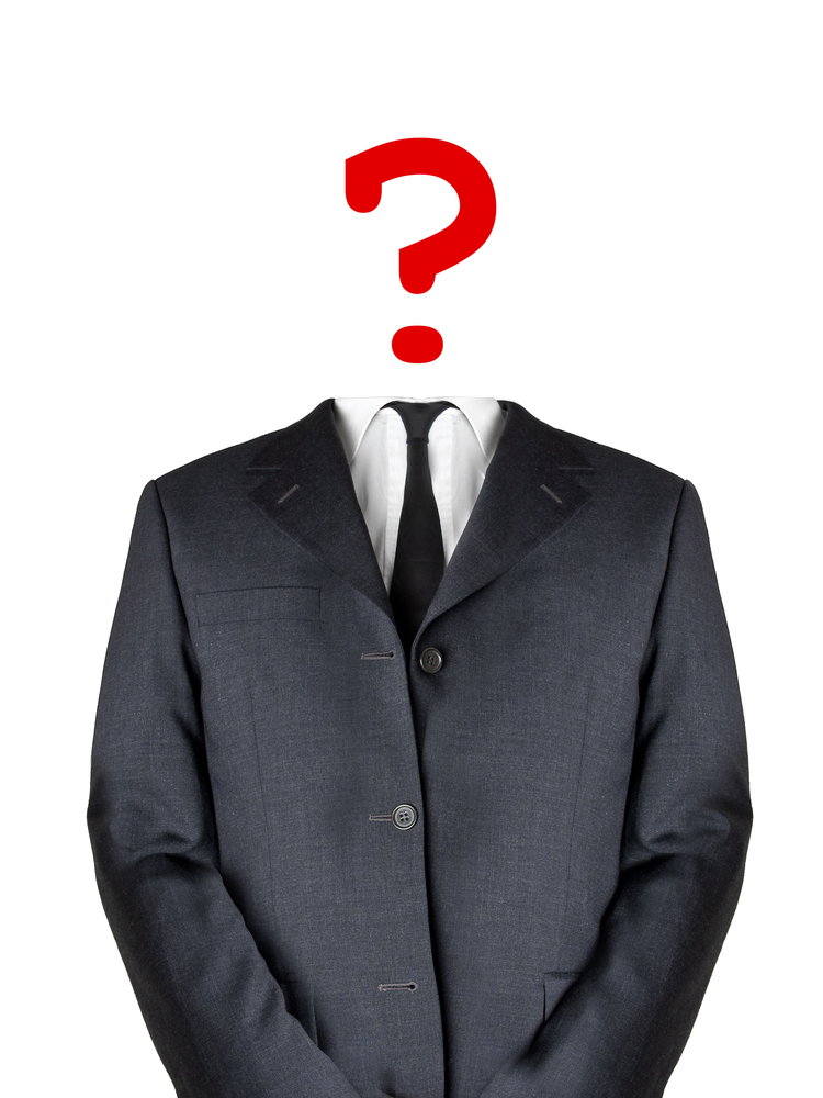 Mystery man suit question mark