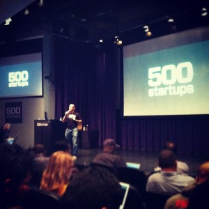 Dave McClure introduces the startups at 500 Startups demo day.