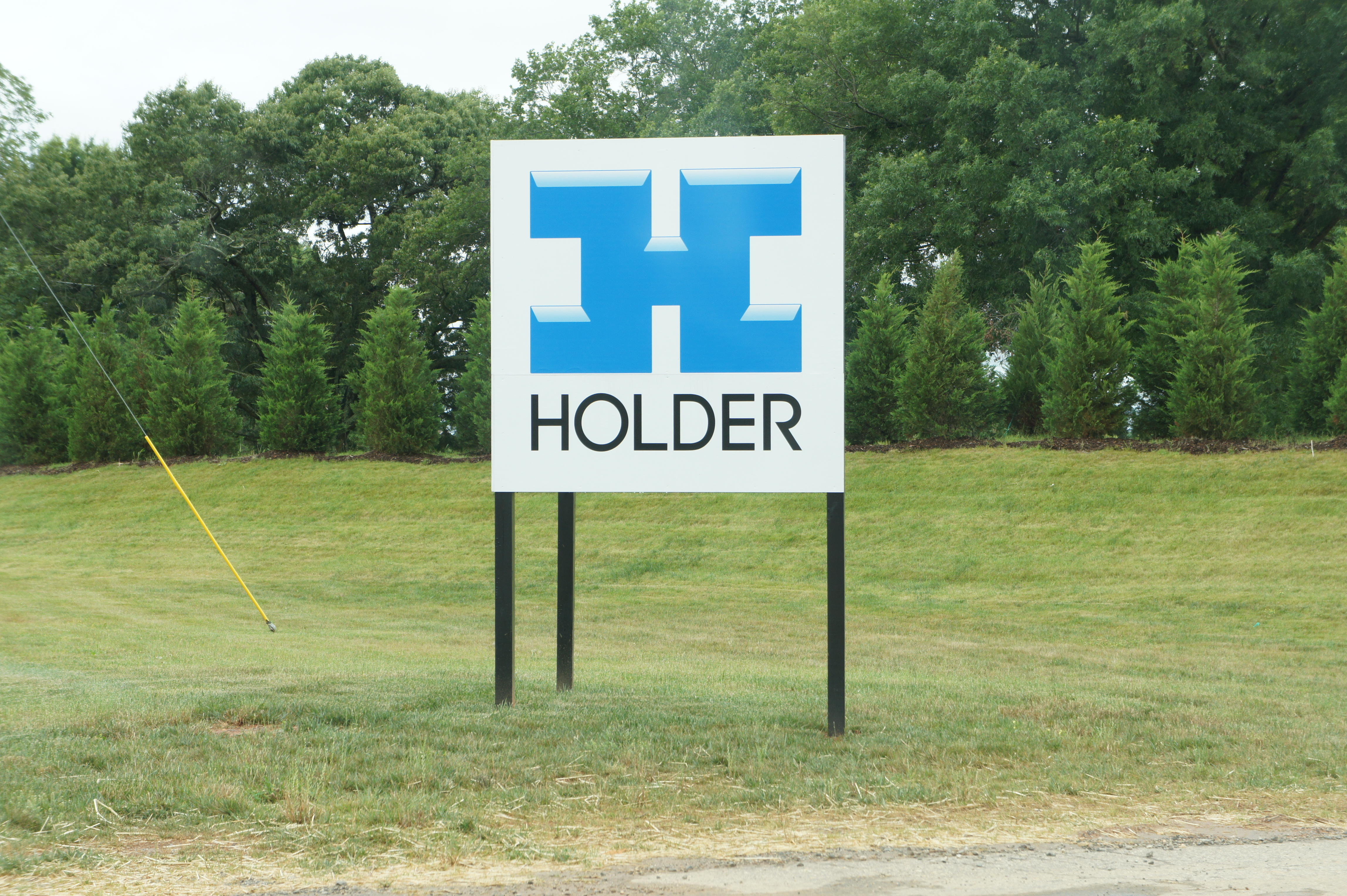The Apple data center and solar farm are only marked by a sign for the construction company Holder Construction.