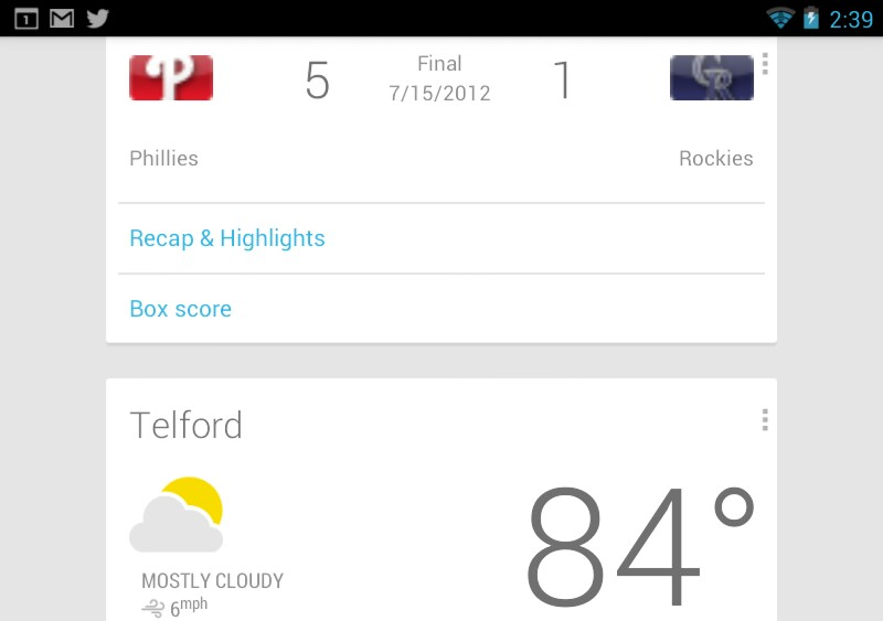 Google Now on Nexus 7