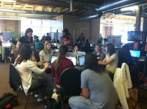Women gather at the Github headquarters for Rails Girls San Francisco on June 30, 2012.
