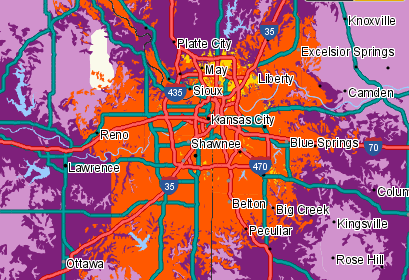 Sprint's LTE coverage in Kansas City is shown in yellow