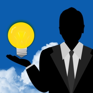 Business person with idea lightbulb