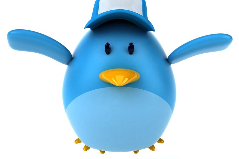 Twitter stuffed bird flying